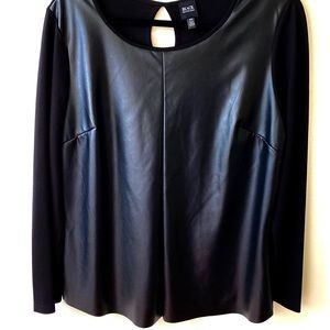 Black Saks Fifth Avenue faux leather top